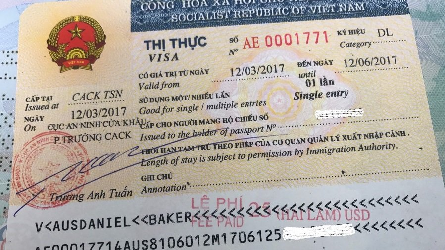 sample Vietnam tourist visa