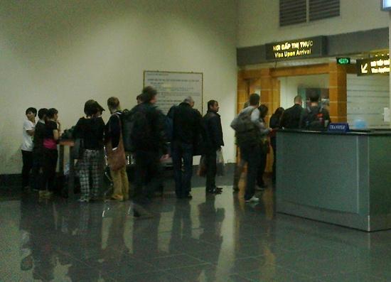 Visa on arrival counter at Noi Bai Airport in Hanoi