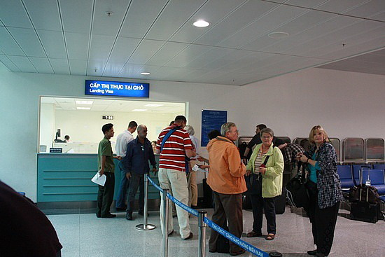 Visa on arrival counter at Tan Son Nhat Airport in Ho Chi Minh City