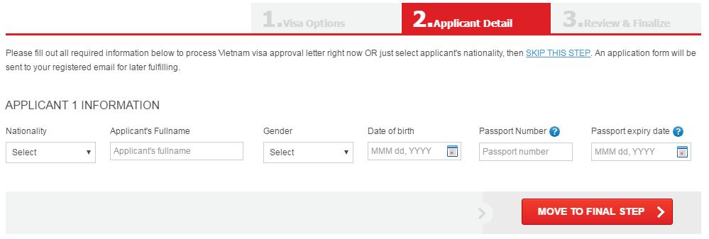online Vietnam visa application form step 2