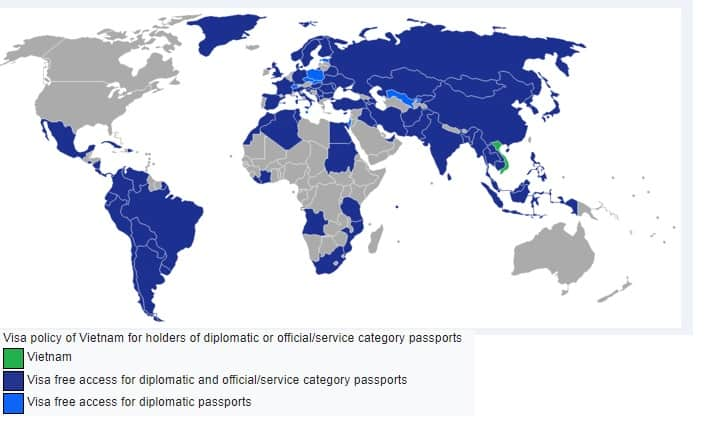 Map of Vietnam visa exemption policy for non-ordinary passport holders