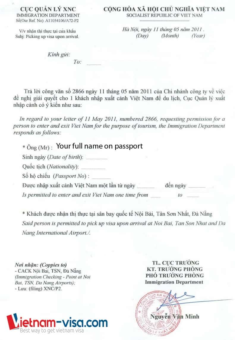 Sample of Vietnam visa approval letter