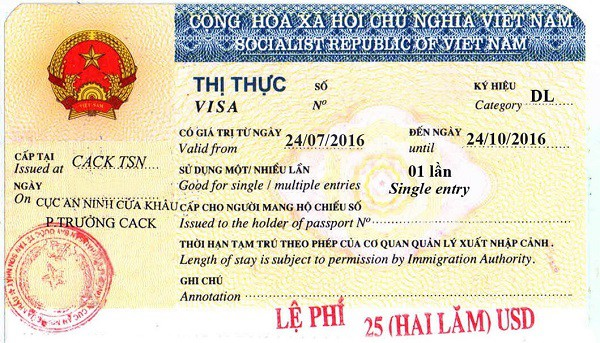 Sample of Vietnamese tourist visa
