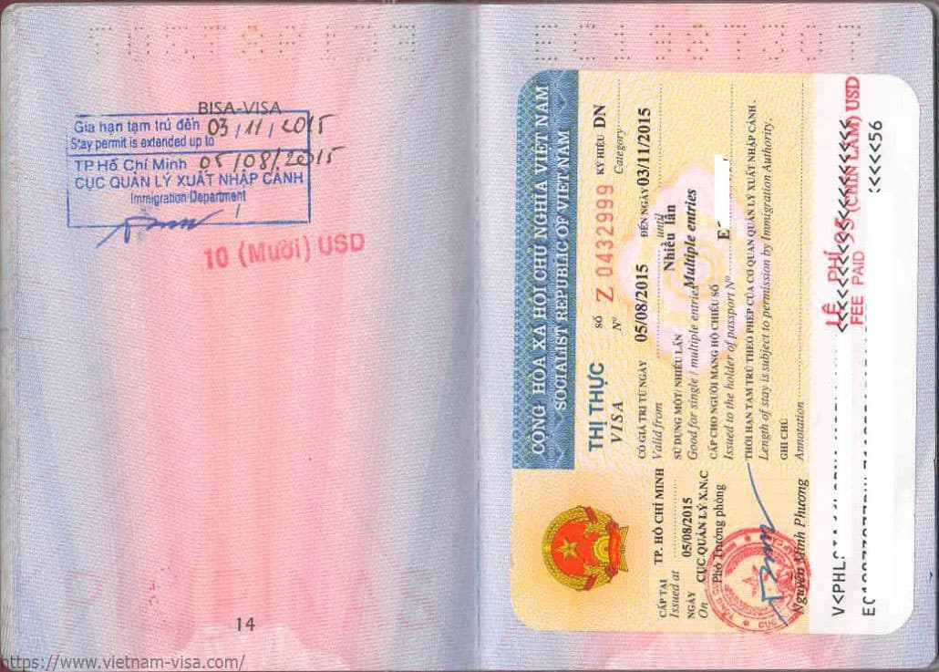 Vietnam visa extension stamp