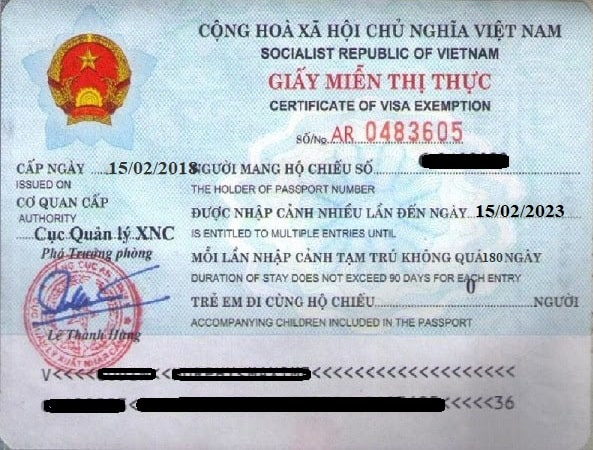 Sample of Vietnam 5 years visa exemption certificate