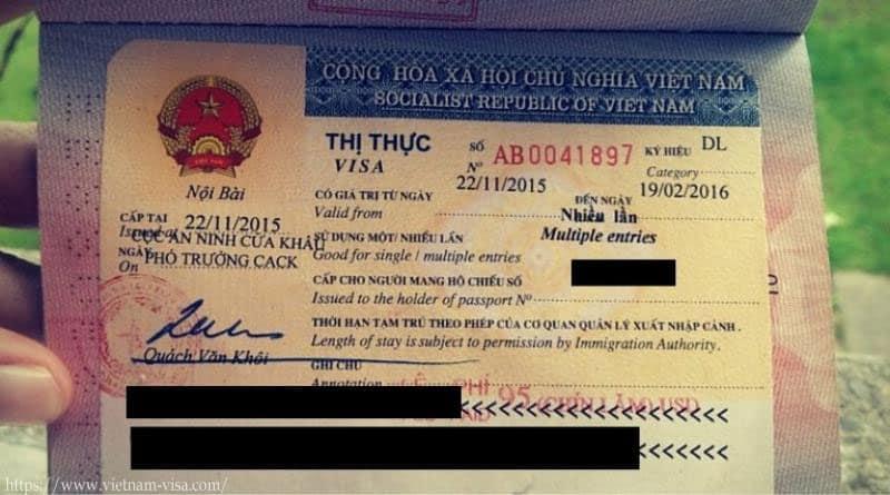 Sello de visa de Vietnam - Formas de la visa