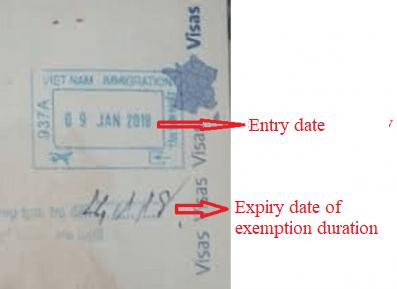 Vietnam visa exemption stamp