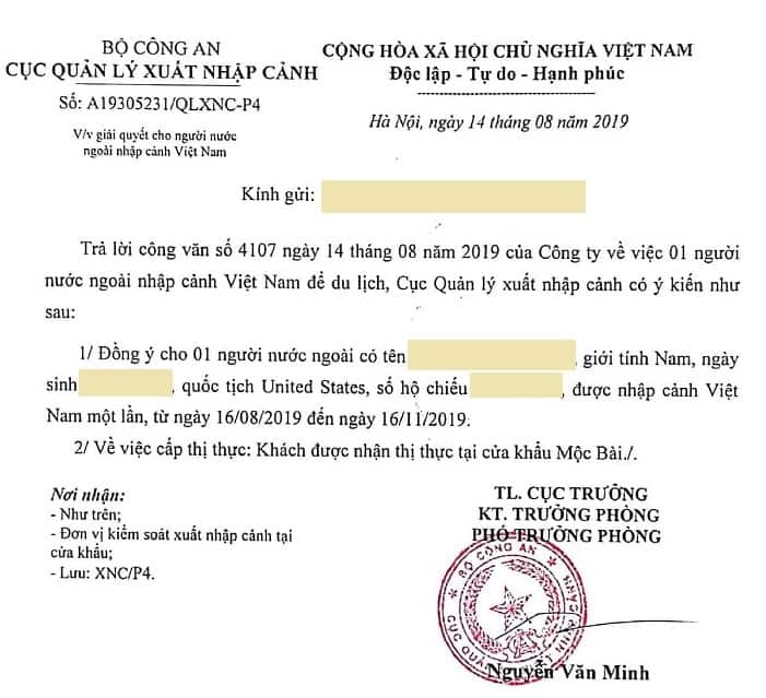 Visa letter for Vietnam land border visa run