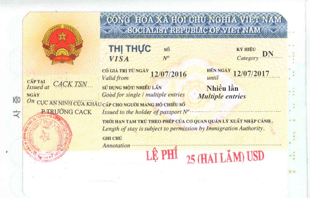 Vietnam business DN visa sample