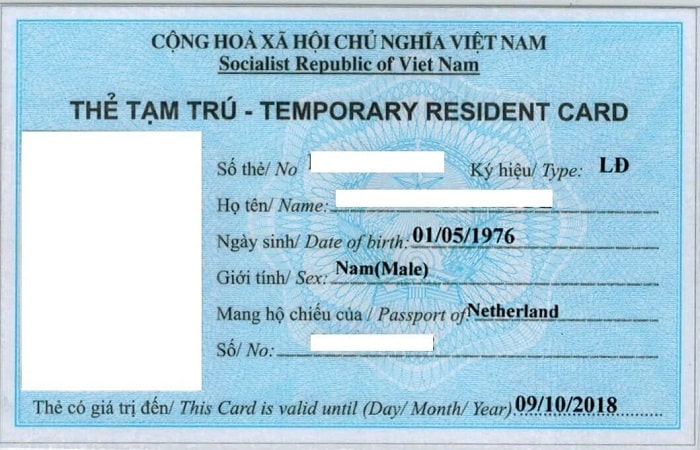 Sample Vietnam temporary residence card