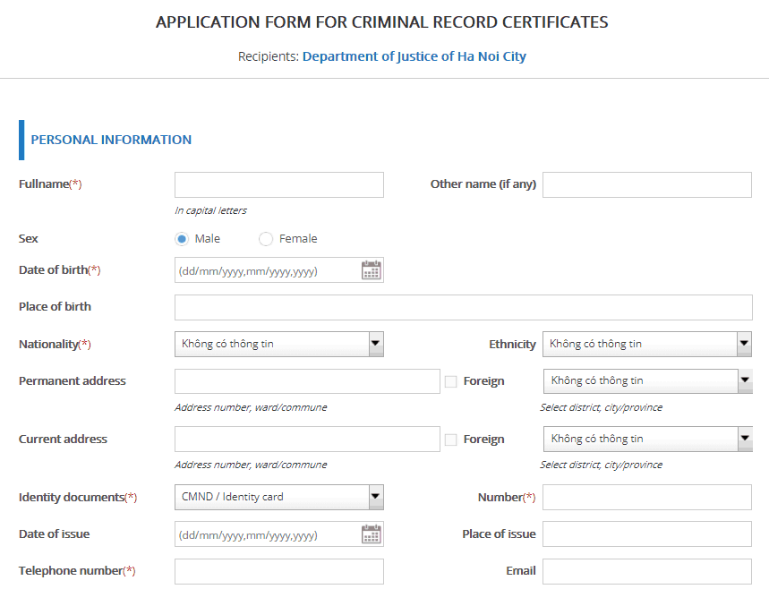 Online application form for police check in Vietnam