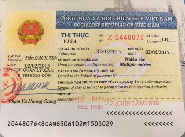 Sample of Vietnam work visa