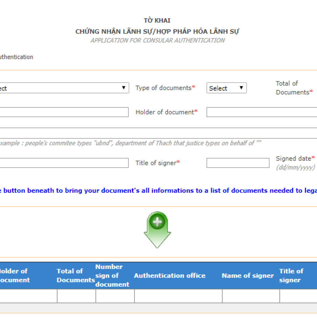 Request form for consular legalization in Vietnam