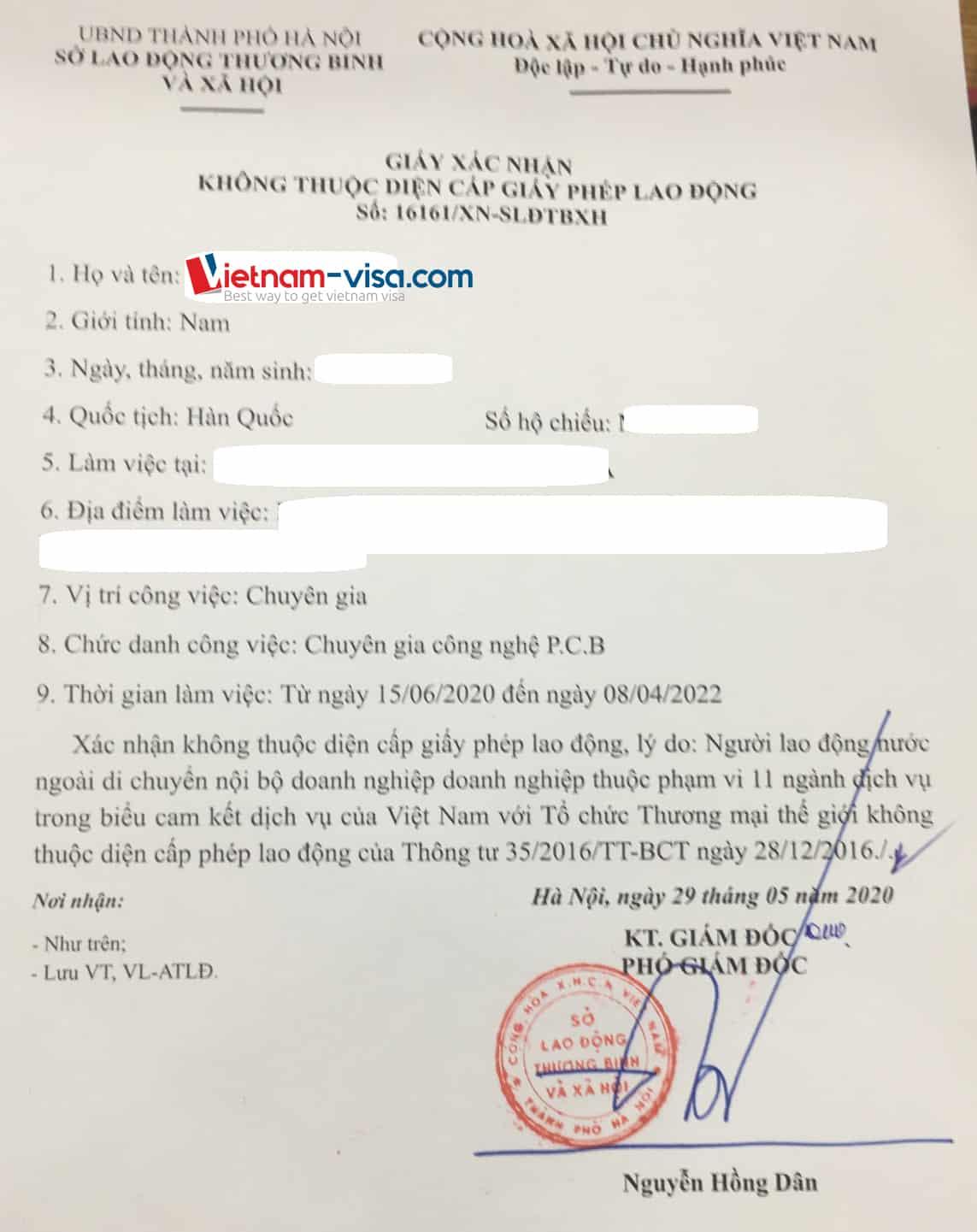 Sample Vietnam work permit exemption certificate