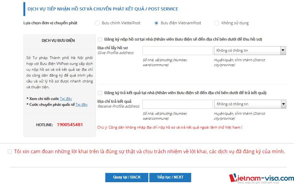 Chọn phương thức nộp hồ sơ và nhận kết quả Lý lịch tư pháp online - Vietnam-visa
