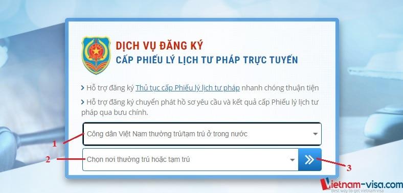 Đăng ký cấp phiếu lý lịch tư pháp trực tuyến - Vietnam-visa