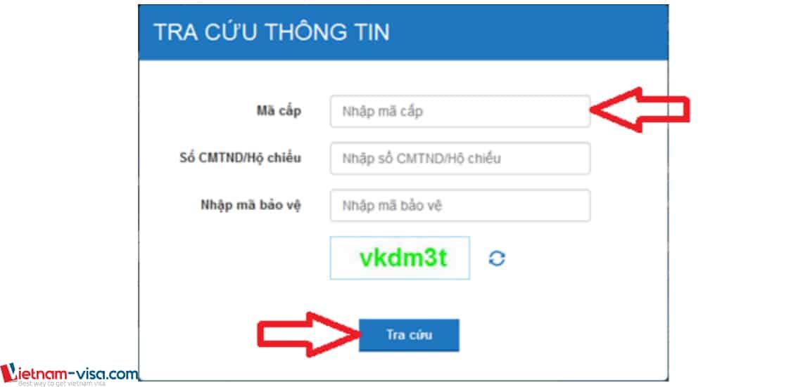 Màn hình nhập thông tin để tra cứu Lý lịch tư pháp trực tuyến - Vietnam-visa