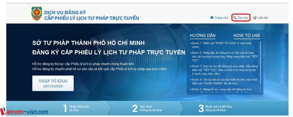 """Ấn """"Tra cứu"""" để tra cứu lý lịch tư pháp trực tuyến - Vietnam-visa"""