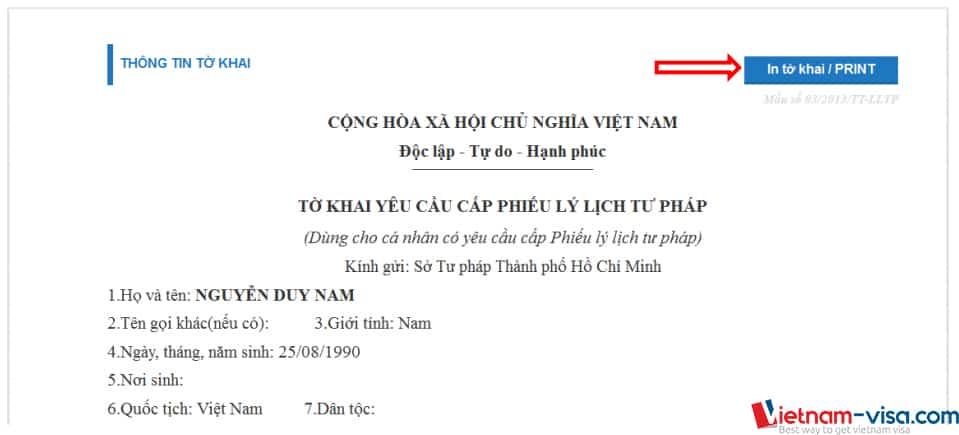 In tờ khai yêu cầu cấp lý lịch tư pháp online - Vietnam-visa