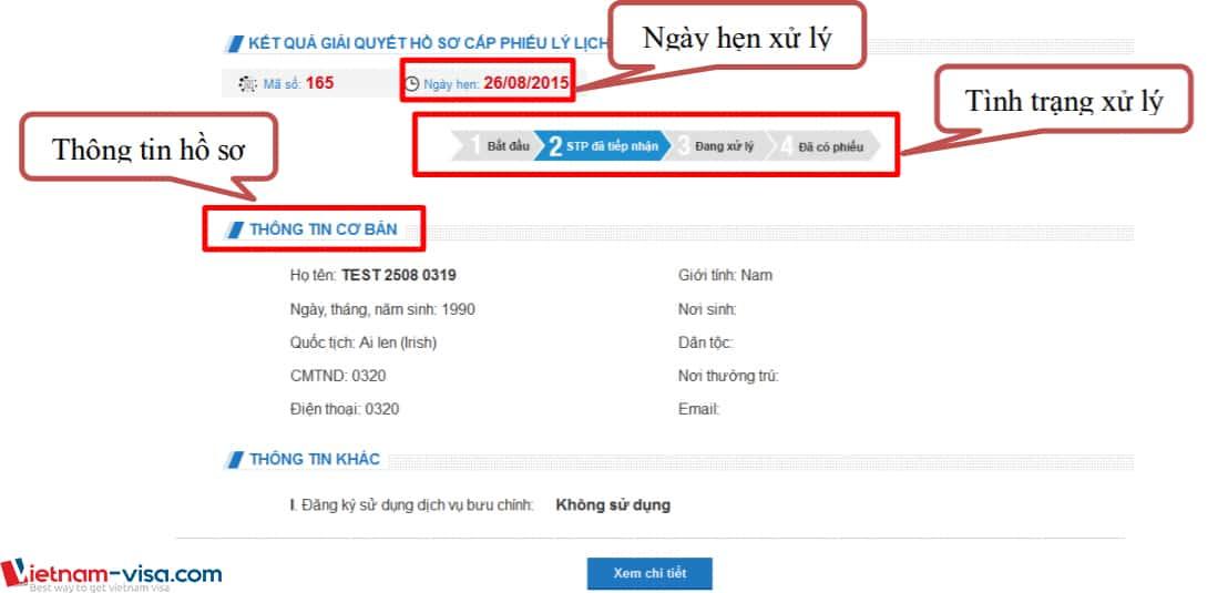 Kết quả tra cứu hồ sơ lý lịch tư pháp - Vietnam-visa