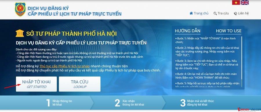 Bắt đầu nhập tờ khai yêu cầu Lý lịch tư pháp trực tuyến - Vietnam-visa
