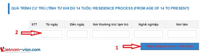 Phần Khai quá trình cư trú khi đăng ký lý lịch tư pháp trực tuyến - Vietnam-visa