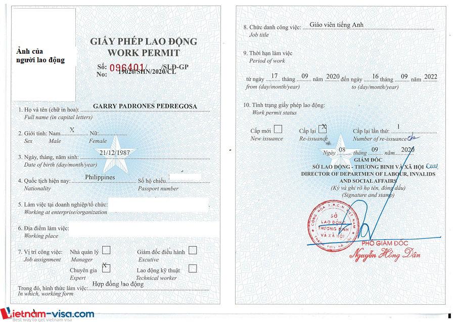 Mẫu Giấy phép lao động mới nhất - Vietnam-visa.com
