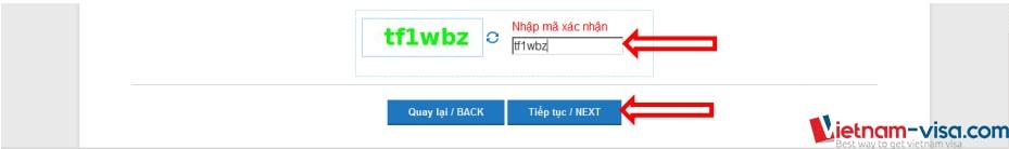 Nhập mã xác thực người dùng khi đăng ký lý lịch tư pháp online - Vietnam-visa