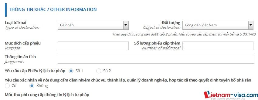 Thông tin về yêu cầu cấp lý lịch tư pháp online - Vietnam-visa