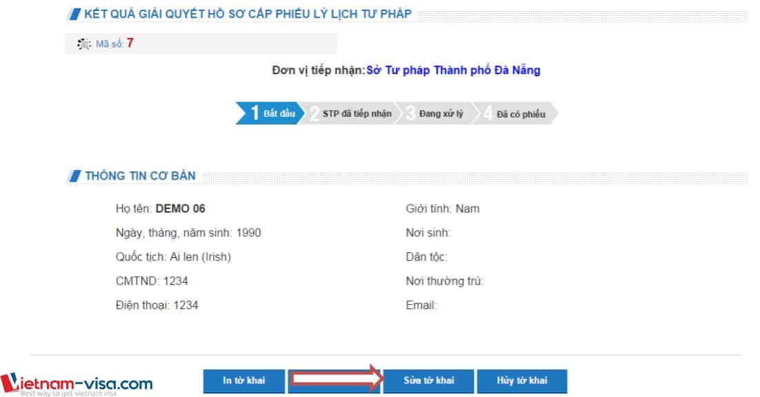 Sửa tờ khai lý lịch tư pháp - Vietnam-visa
