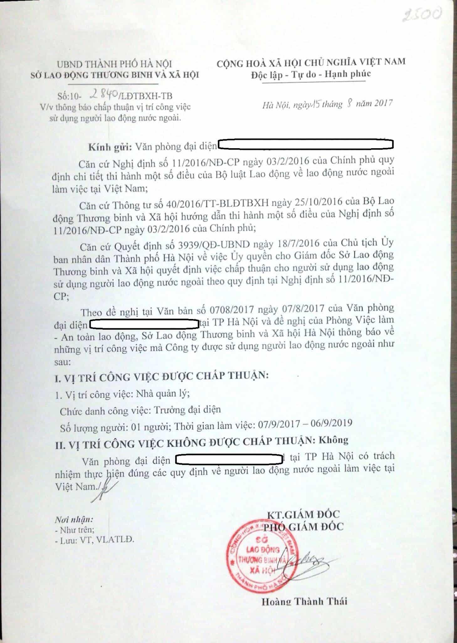 Mẫu Công văn chấp thuận sử dụng lao động nước ngoài - Vietnam-visa