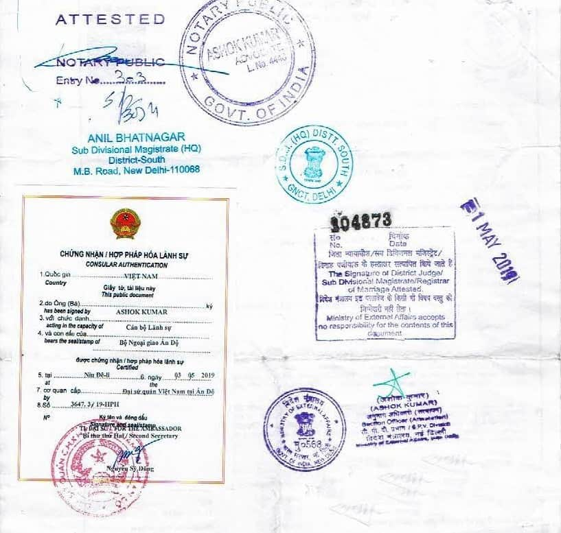 India document legalized by Vietnam Embassy in India
