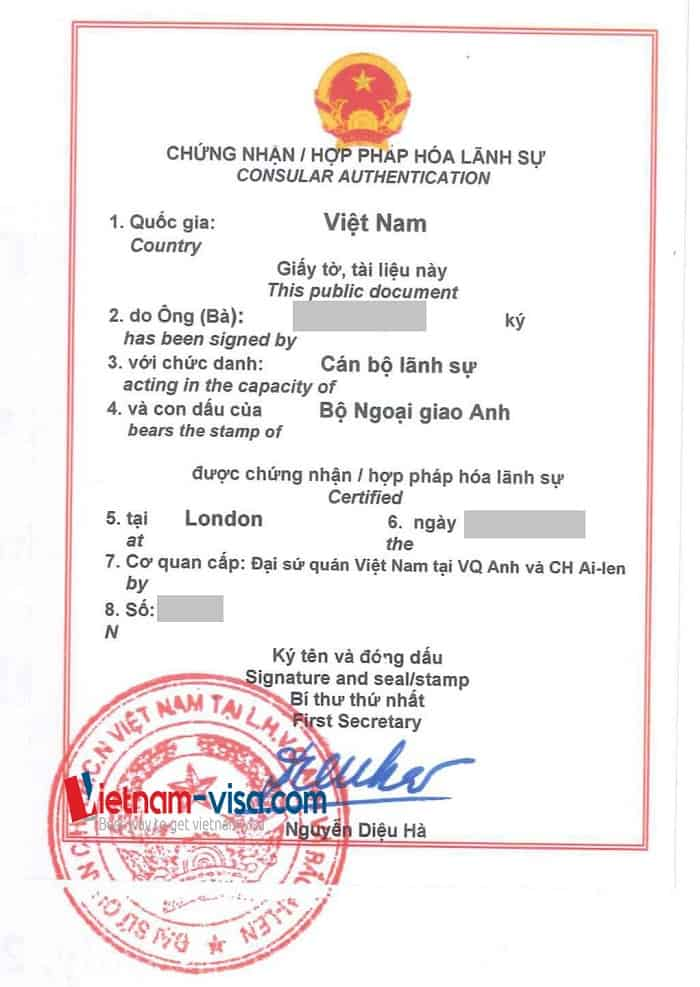 Vietnam embassy legalization stamp for UK documents to be used in Vietnam