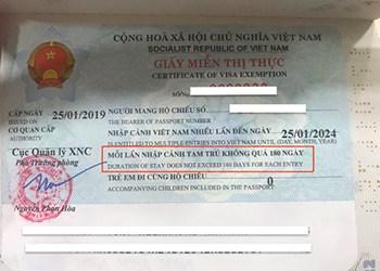 Vietnam 5 years visa - Vietnam 5 years visa exemption certificate