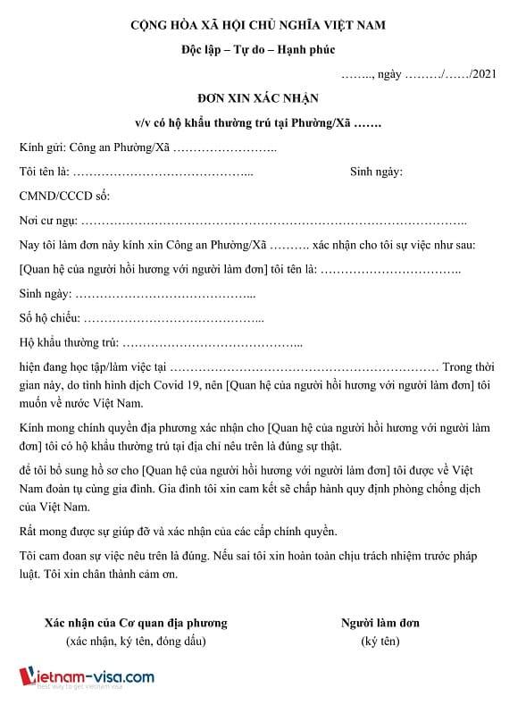 Mẫu Đơn xin xác nhận thân nhân - Thủ tục xin hồi hương về Việt Nam tránh dịch