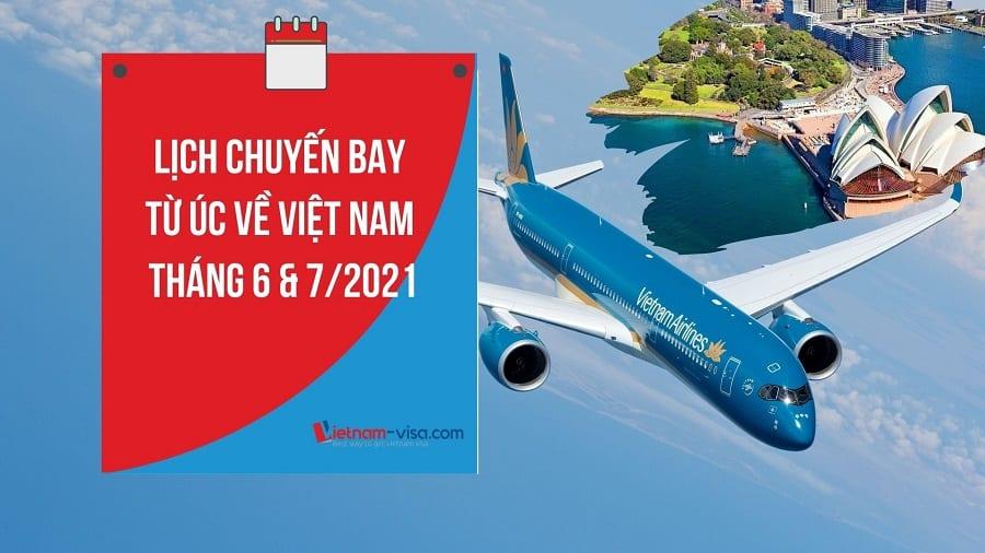 Lịch bay, Vé máy bay từ Úc về Việt Nam mùa dịch Covid – Tháng 6 & 7/2021
