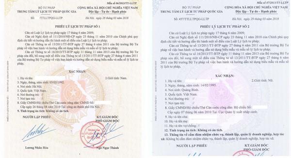 Phiếu Lý lịch tư pháp số 1 và số 2 cho Người Việt Nam đang ở nước ngoài