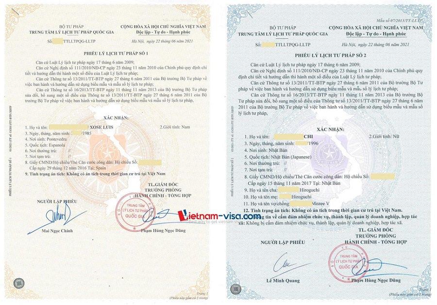 Mẫu Lý lịch tư pháp cho Người nước ngoài - Phiếu số 1 & Số 2
