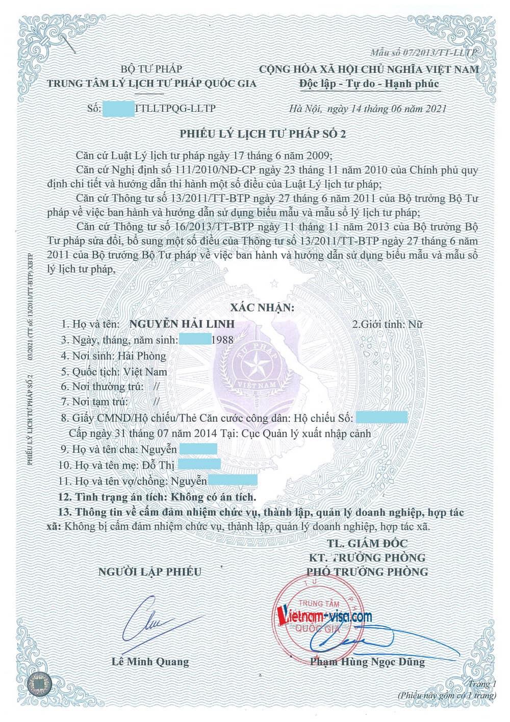 Phiếu Lý lịch tư pháp số 2 cho người Việt nam ở nước ngoài