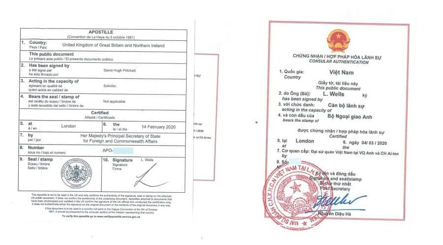 Mẫu hợp pháp hóa lãnh sự giấy tờ Anh để sử dụng tại Việt Nam