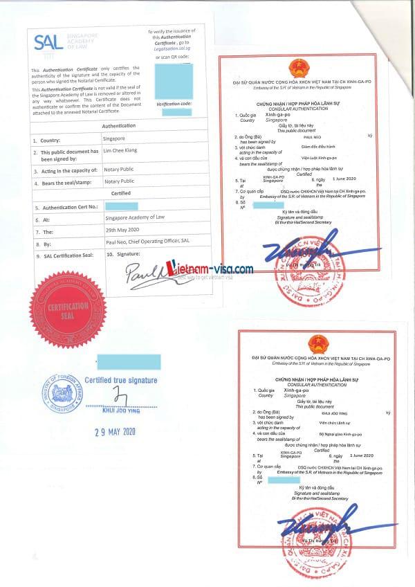 Mẫu tem Hợp pháp hóa lãnh sự