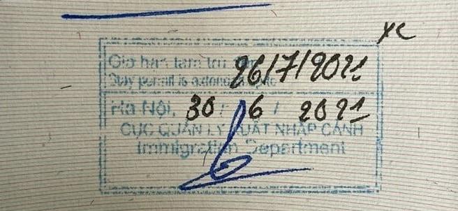 Vietnam exit visa sample for overstaying Vietnam
