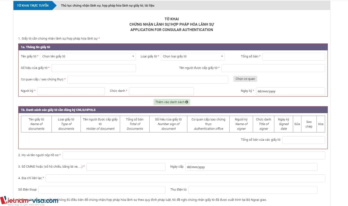 Tờ khai Hợp pháp hóa lãnh sự/Chứng nhận lãnh sự – Download & Cách điền