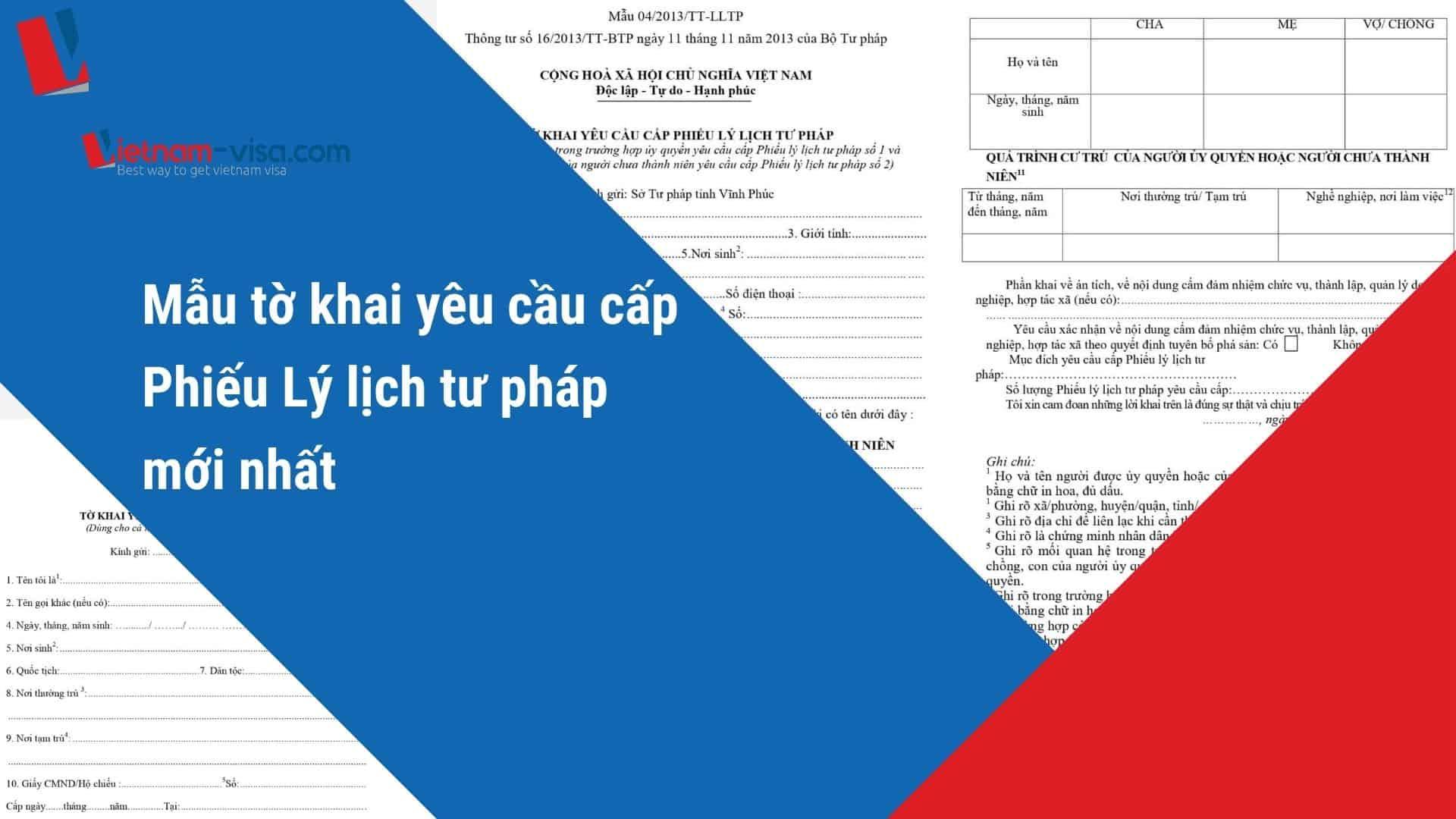 Mẫu tờ khai yêu cầu cấp phiếu lý lịch tư pháp số 1 và số 2 mới nhất