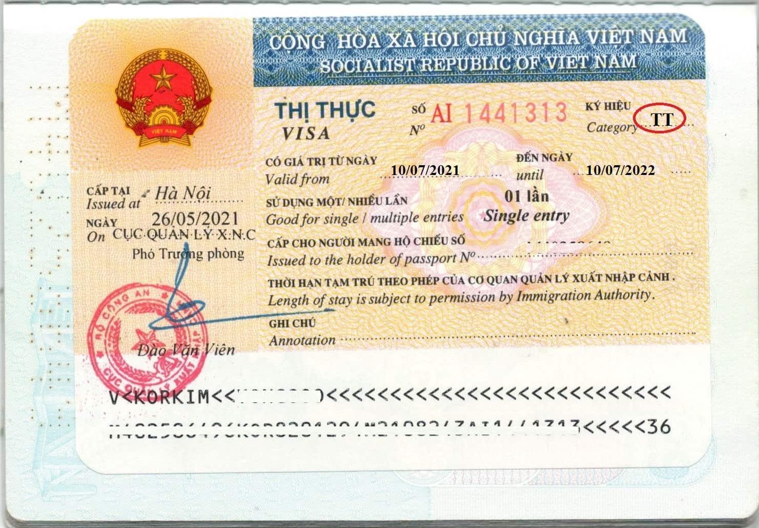 Sample of Vietnam TT visa